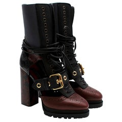 Burberry Burgundy & Black Lace-up Leather Heeled Boots US9