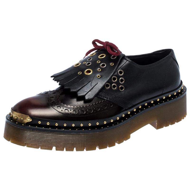 Burberry Burgundy/Black Leather Kiltie Fringe Slip On Sneakers Size 40