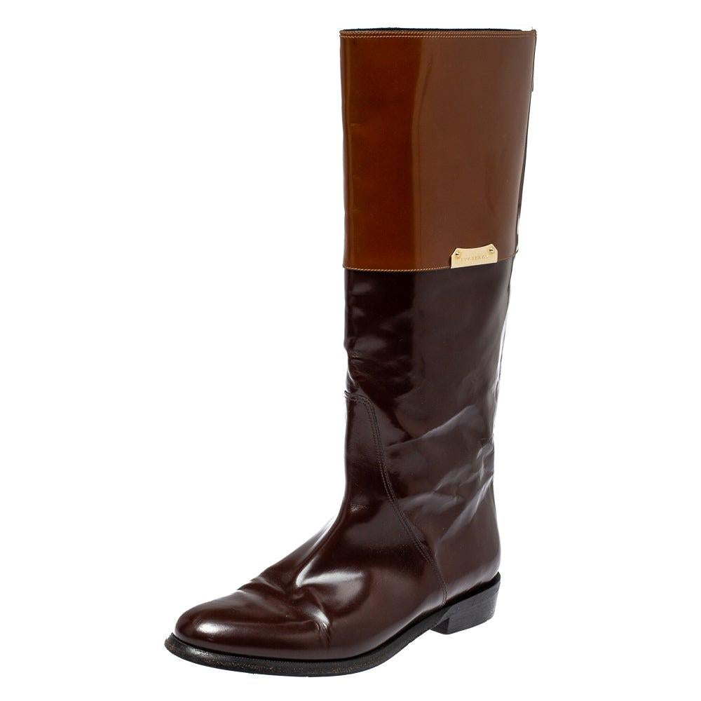 Burberry Burgundy/Brown Leather Logo Embellished Knee High Boots Size 38