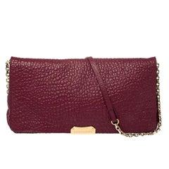 Burberry Burgundy Grain Leather Mildenhall Shoulder Bag