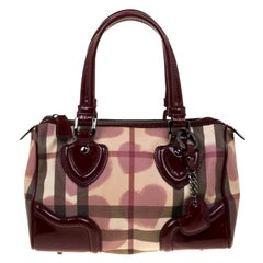 Burberry Burgundy House Check PVC & Patent Leather Hearts Boston Bag