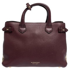 Burberry Burgundy Leather and House Check Fabric Medium Banner Tote