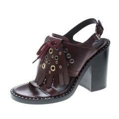 Burberry Burgundy Leather Beverley Eyelet Fringe Block Heel Sandals Size 40