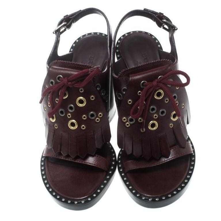 84fc673bbf07 Black Burberry Burgundy Leather Beverley Eyelet Fringe Detail Block Heel  Sandals Size For Sale