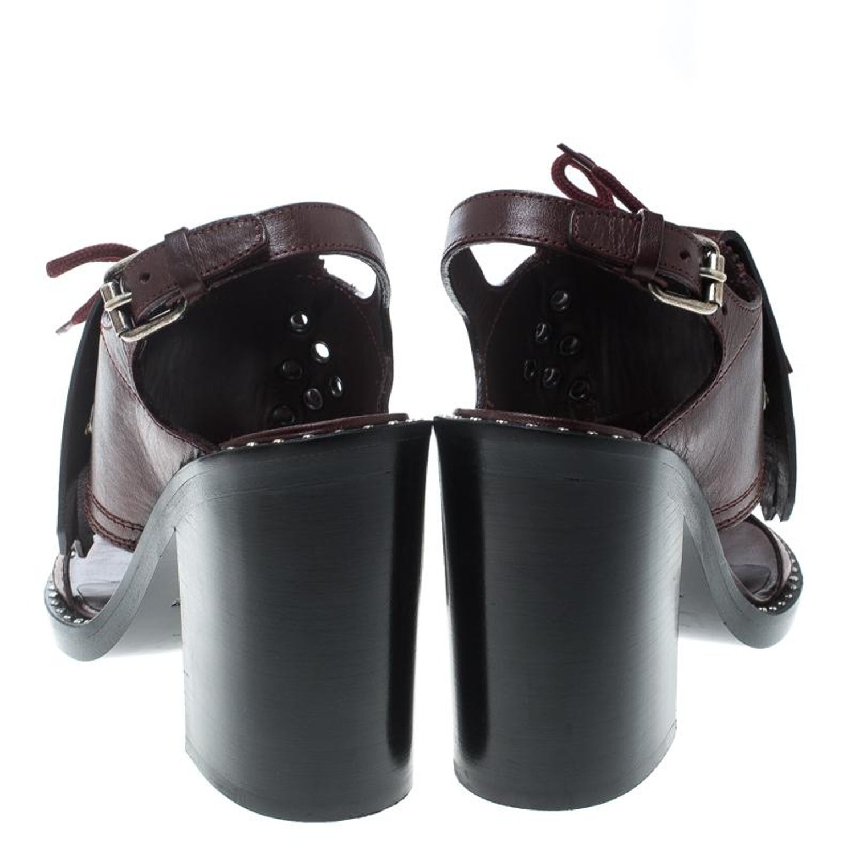 2f0d400b9985 Burberry Burgundy Leather Beverley Eyelet Fringe Detail Block Heel Sandals  Size For Sale at 1stdibs