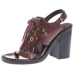 Burberry Burgundy Leather Beverley Eyelet Fringe Detail Heel Sandals Size 37