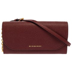 Burberry Burgundy Leather Henley Wallet on Chain