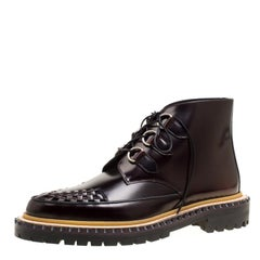 Burberry Burgundy Leather Melton Lace Up Platform Creeper Boots Size 40