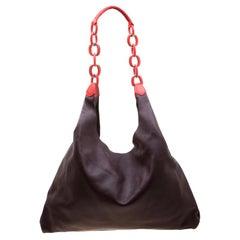 Burberry Burgundy Leather Shopper Bag