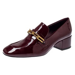 Burberry Burgundy Patent Leather Chain Link Loafers Size 36.5