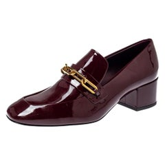 Burberry Burgundy Patent Leather Chain Link Loafers Size 38.5