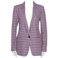Burberry Burgundy Plaid Check Cotton Blazer S