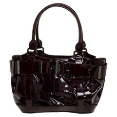 Burberry Burgundy Quilted Patent Leather Healy Tote