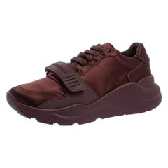 Burberry Burgundy Satin And Rubber Regis Low Top Sneakers Size 41