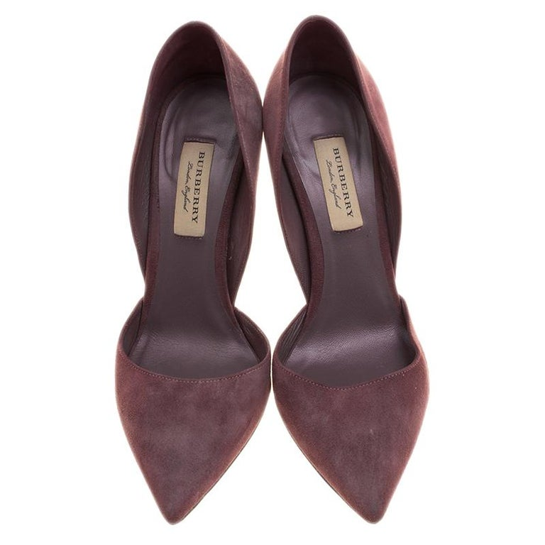 0ee49c567a8 Burberry Burgundy Suede D'orsay Pointed Toe Pumps Size 38.5