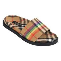 "BURBERRY c.2018 ""Ashmore"" Rainbow Vintage Check Open Toe Slide Sandals w/Box"
