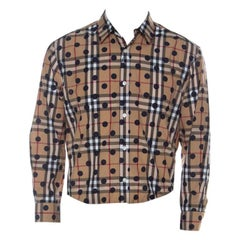 Burberry Camel Beige Nova Check Cotton Polka Dot Detail Shirt XL