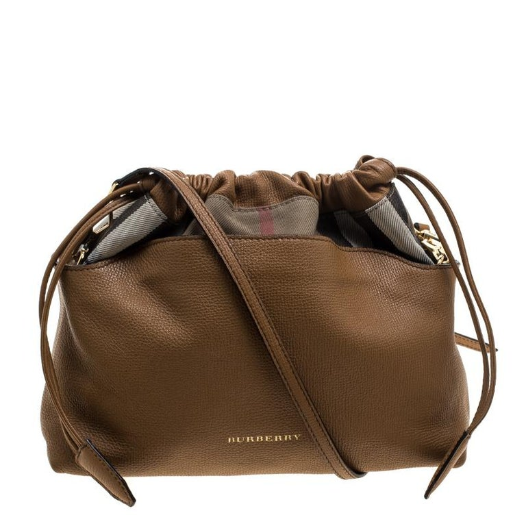 dec116506ed Burberry Camel House Check Canvas and Leather Little Crush Crossbody Bag  For Sale