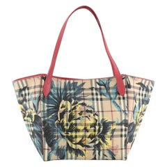 Burberry Canter Tote Printed Haymarket Coated Canvas and Leather Small