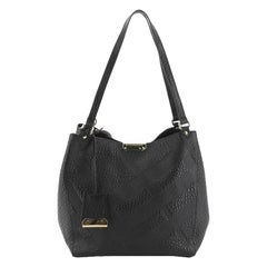 Burberry Canterbury Tote Check Embossed Leather Small