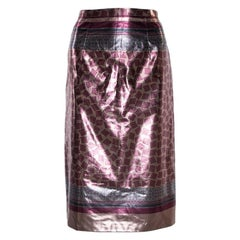 Burberry Champagne Pink Printed Lamé Pencil Skirt M