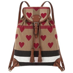 BURBERRY Chilton Check Hearts Canvas Leather Trim Backpack