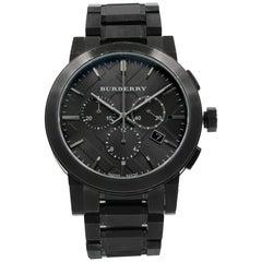 Burberry Chronograph BU9354 Gray Dial Ion Plated Steel Quartz Men's Watch