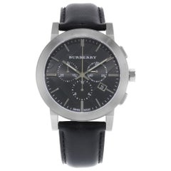 Burberry Chronograph Stainless Steel Leather Black Dial Quartz Mens Watch BU9356