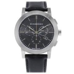 Burberry Chronograph Stainless Steel Leather Black Dial Quartz Mens Watch BU9356