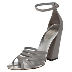Burberry Cloud Grey Leather Hove Heel Ankle Strap Sandals Size 40