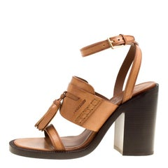 800eafb1a0db Burberry Cognac Brown Leather Bethany Tassel Detail Block Heel Sandals Size  39