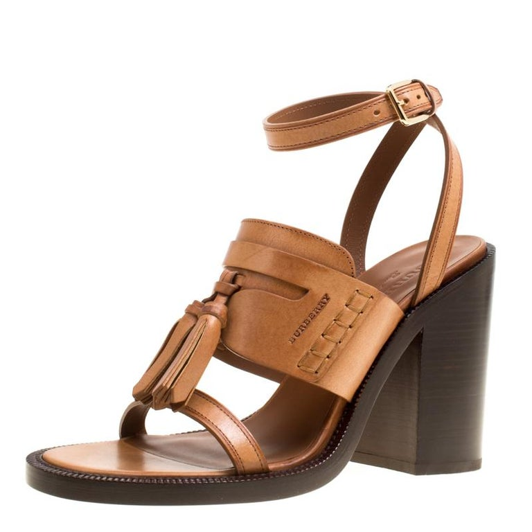 9a87c593c1f6 Burberry Cognac Brown Leather Bethany Tassel Detail Block Heel Sandals Size  40 For Sale