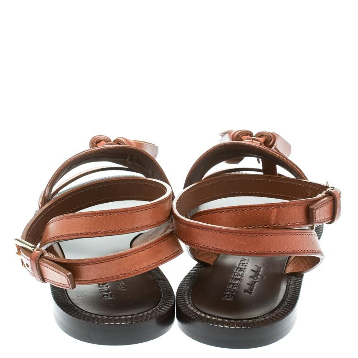 98e4149dd388 Burberry Cognac Brown Leather Bethany Tassel Detail Flat Sandals Size 37  For Sale at 1stdibs