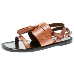 Burberry Cognac Brown Leather Bethany Tassel Detail Flat Sandals Size 38