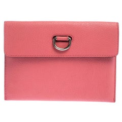 Burberry Coral Pink Leather Patton Clutch