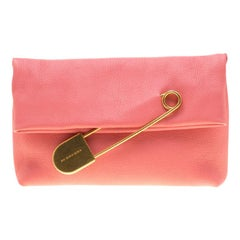 Burberry Coral Pink Leather Pin Clutch