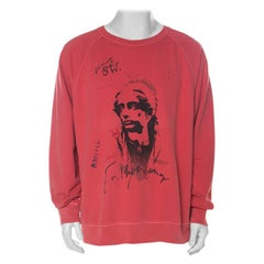 Burberry Coral Red Portrait Printed Cotton Vintage Wash Effect Sweatshirt XXL
