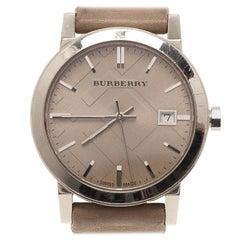 Burberry Cream Stainless Steel Heymarket Women's Wristwatch 38MM