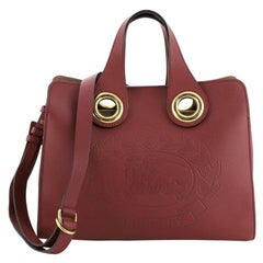 Burberry Crest Grommet Tote Embossed Leather Large