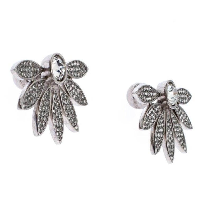 Contemporary Burberry Crystal Studded Half Daisy Silver Tone Earrings For Sale