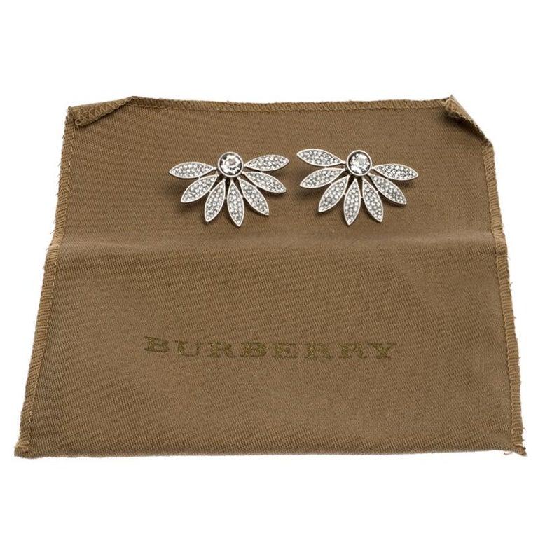 Burberry Crystal Studded Half Daisy Silver Tone Earrings For Sale 2
