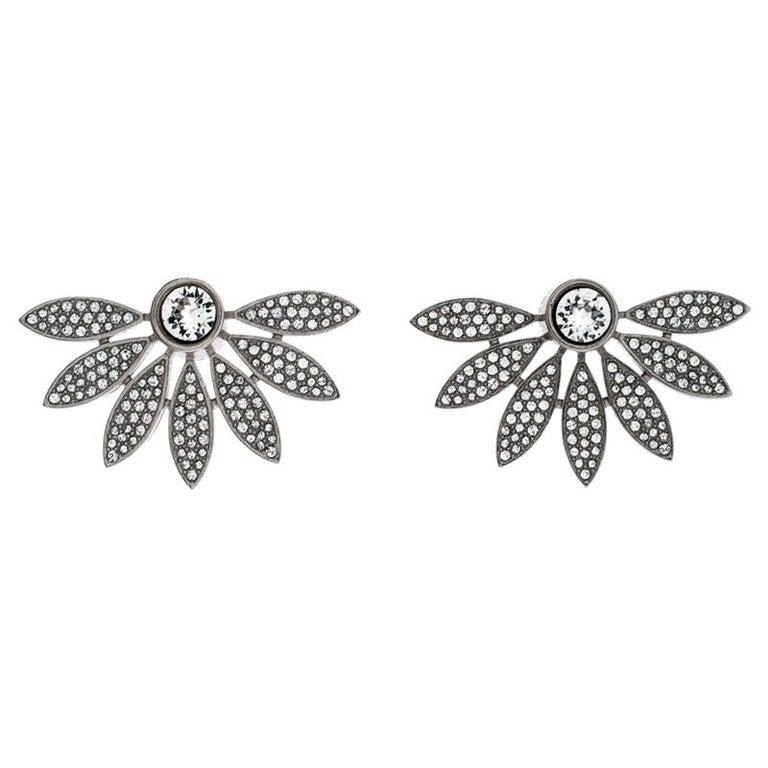 Burberry Crystal Studded Half Daisy Silver Tone Earrings For Sale