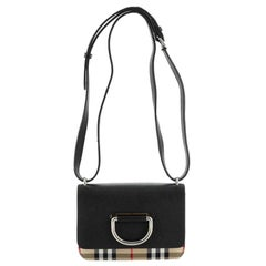Burberry D-Ring Shoulder Bag Leather with Vintage Check Canvas Mini