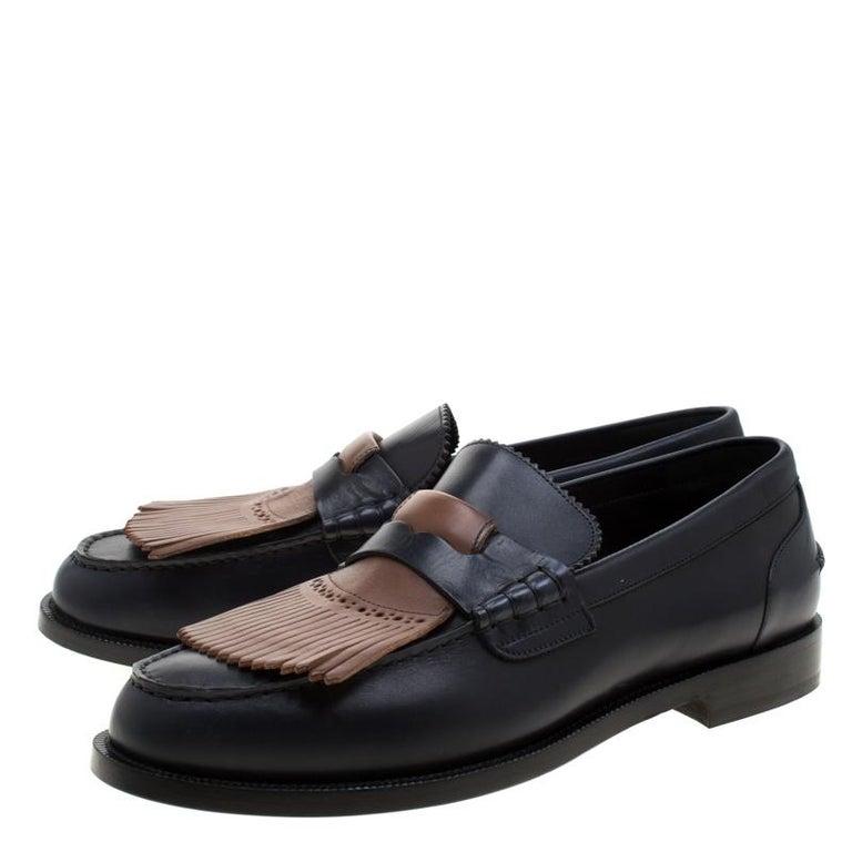 Black Burberry Dark Blue Leather Bedmoore Fringe Detail Penny Loafers Size 45 For Sale