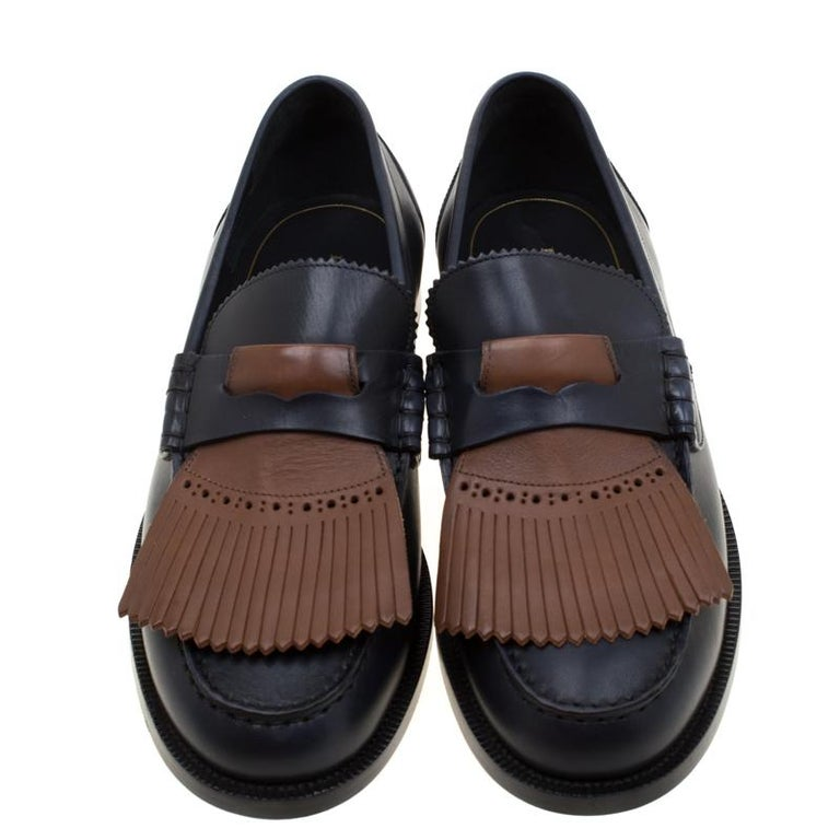 Burberry Dark Blue Leather Bedmoore Fringe Detail Penny Loafers Size 45 In New Condition For Sale In Dubai, Al Qouz 2