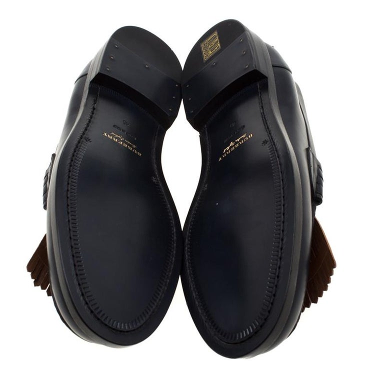 Men's Burberry Dark Blue Leather Bedmoore Fringe Detail Penny Loafers Size 45 For Sale