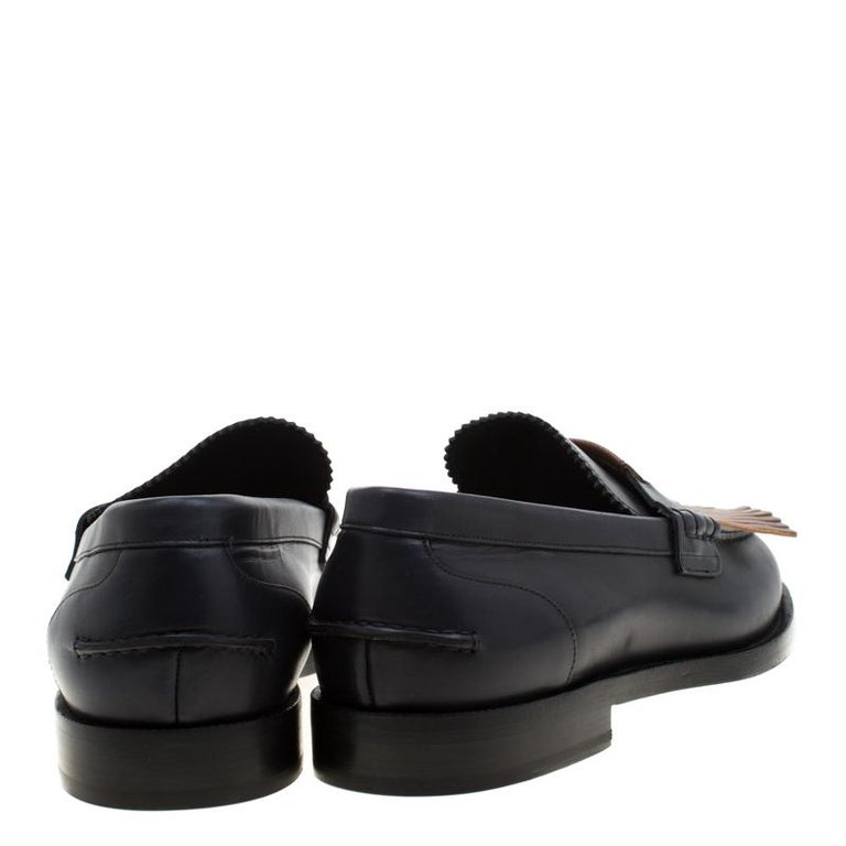 Burberry Dark Blue Leather Bedmoore Fringe Detail Penny Loafers Size 45 For Sale 1