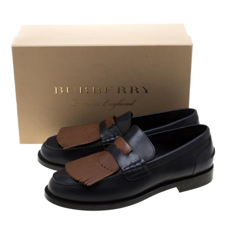 Burberry Dark Blue Leather Bedmoore Fringe Detail Penny Loafers Size 45 For Sale 3