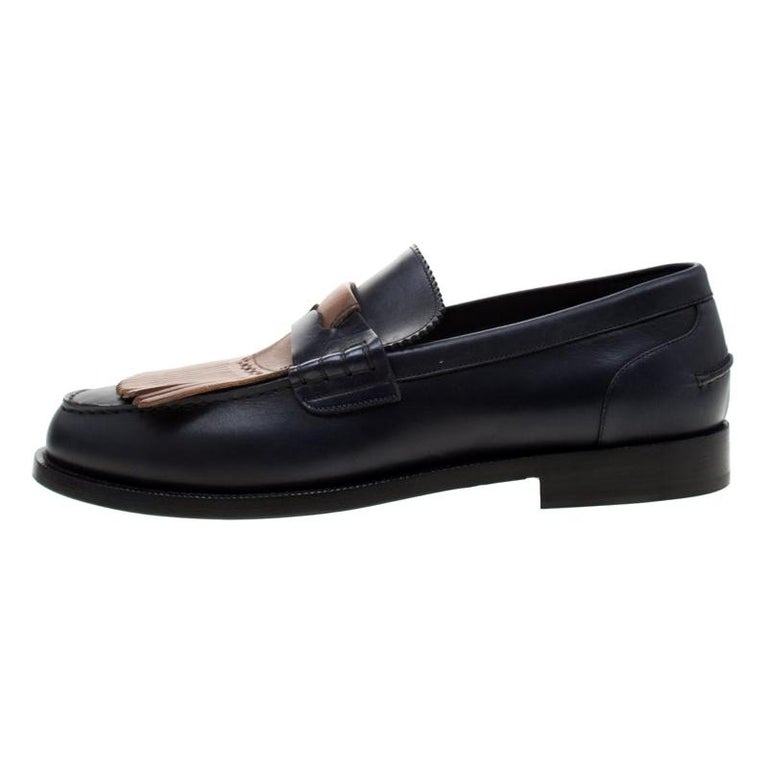 Burberry Dark Blue Leather Bedmoore Fringe Detail Penny Loafers Size 45 For Sale