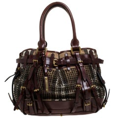 Burberry Dark Brown Canvas and Leather Large Rowan Studded Tote
